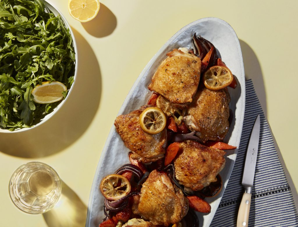 Lemony Pan-Roasted Chicken Thighs with Carrots