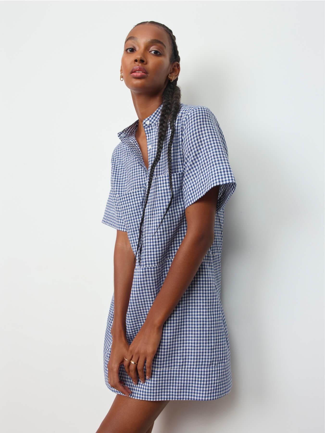 woman wearing g label charlie utility minidress