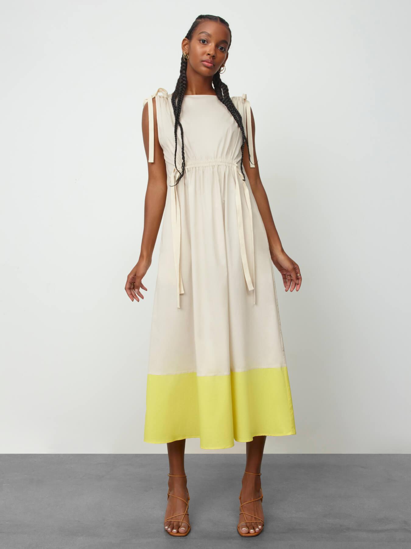 woman wearing g label elisa midlength drawstring waist dress