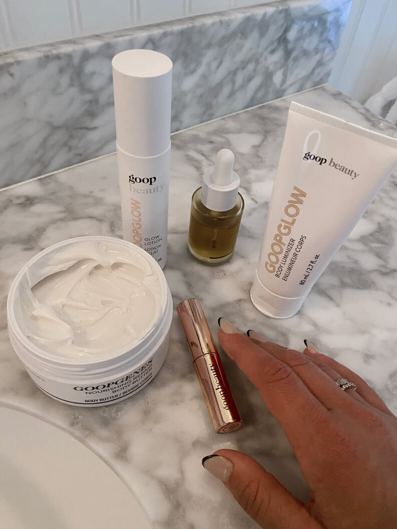 goop beauty products on a table