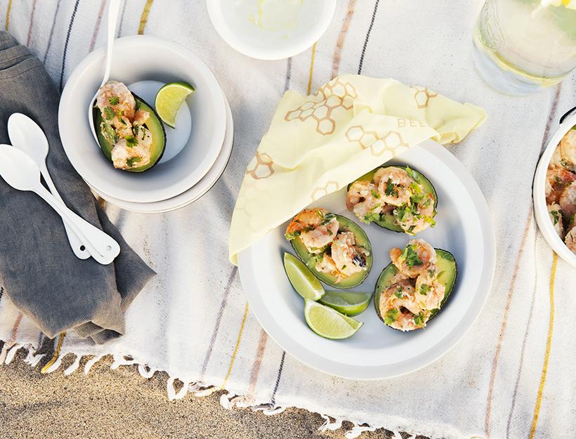 Ginger and Cilantro Shrimp Salad in Avocado Shells
