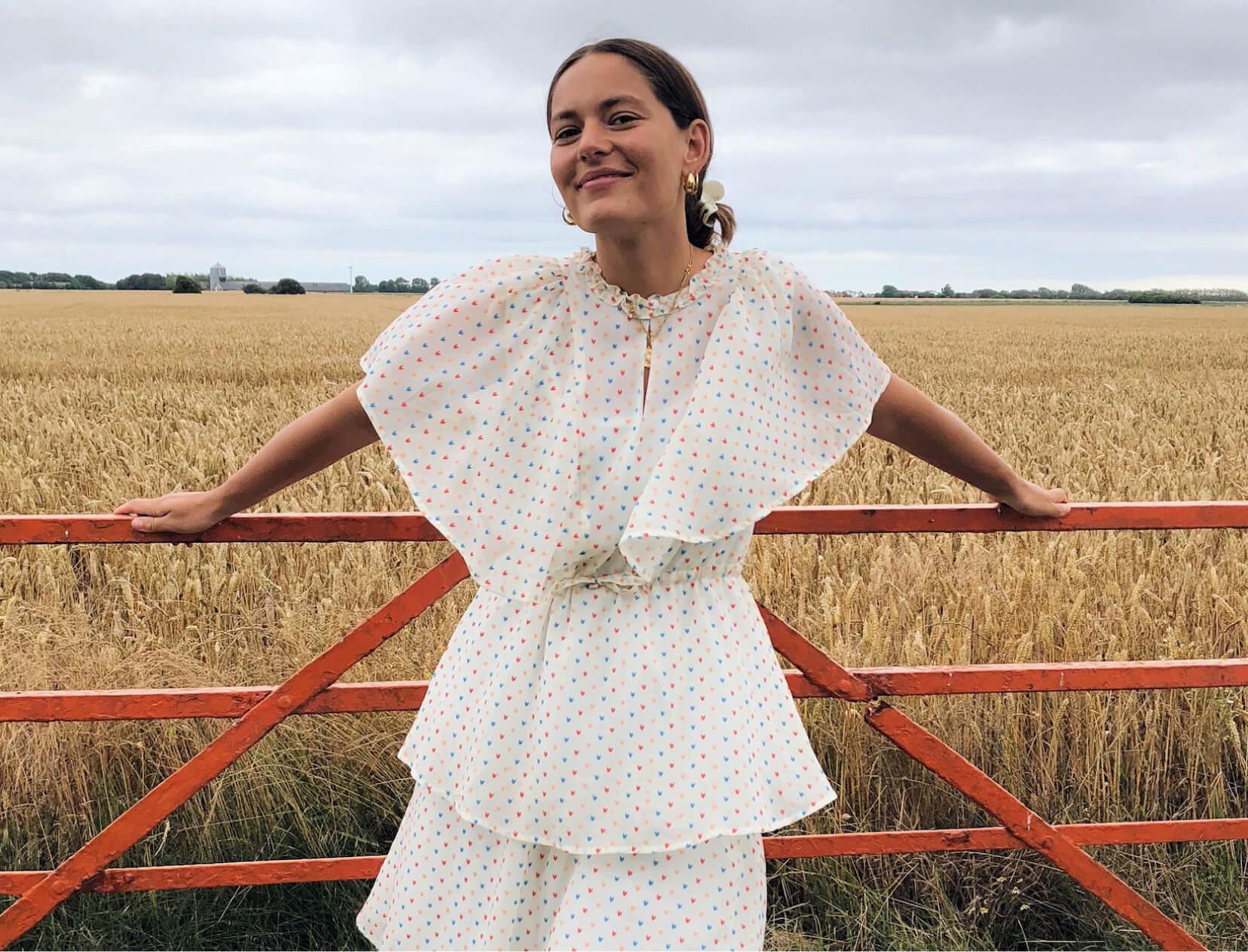 woman by field