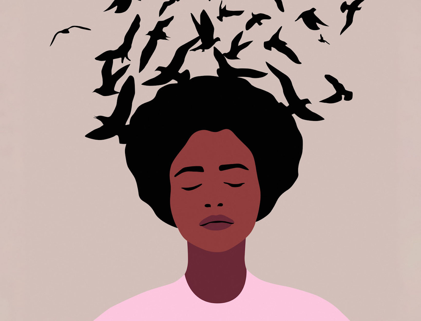 Illustration of a Black woman with birds behind her