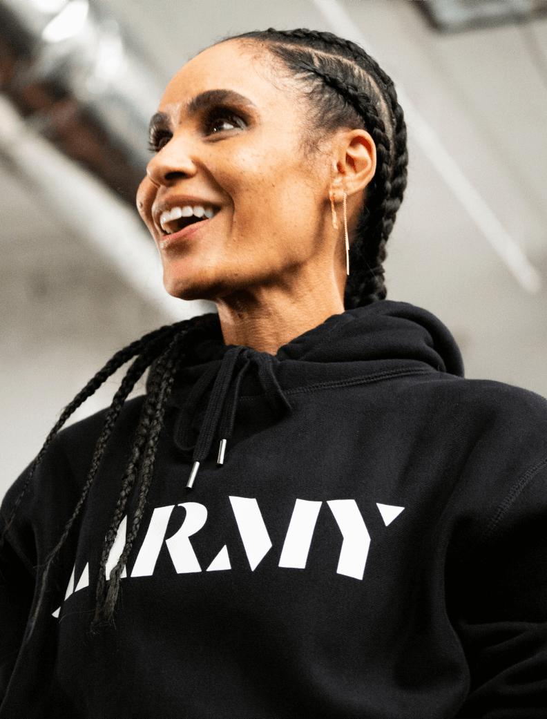 Angela Manuel-Davis wearing AARMY hoodie