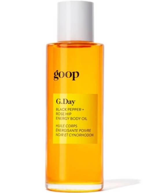 goop Beauty G.DAY Black Pepper + Rose Hip Energy Body Oil, goop, $60