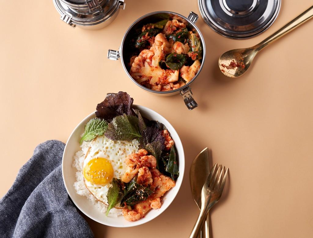 Cauliflower and Collard Kimchi