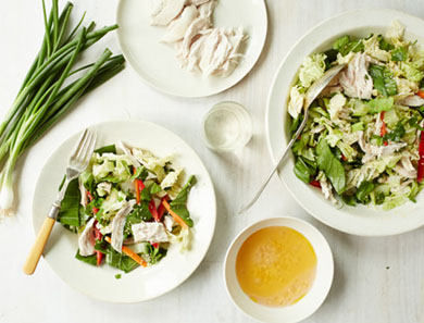 Chicken Salad Bowl with Spicy Ginger Dressing