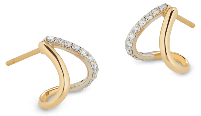 Emily Yellow Gold and Pavé Split Earrings G. Label, $895