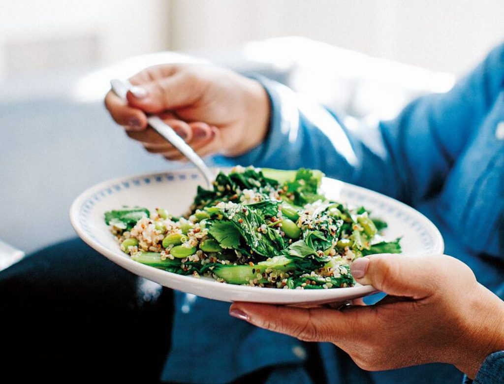 Edamame Beans with Baby Bok Choy, Quinoa, and Honey Ginger Dressing
