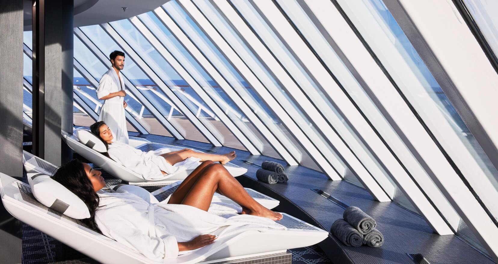 people sunbathing on a cruise ship