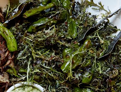 Seared Shishito and Mizuna Salad