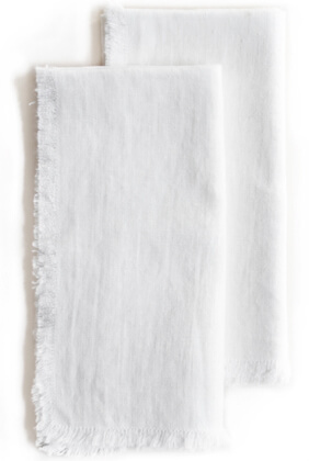 Roman and Williams Guild Fringed Flax Linen Napkin in White, Set of 2
