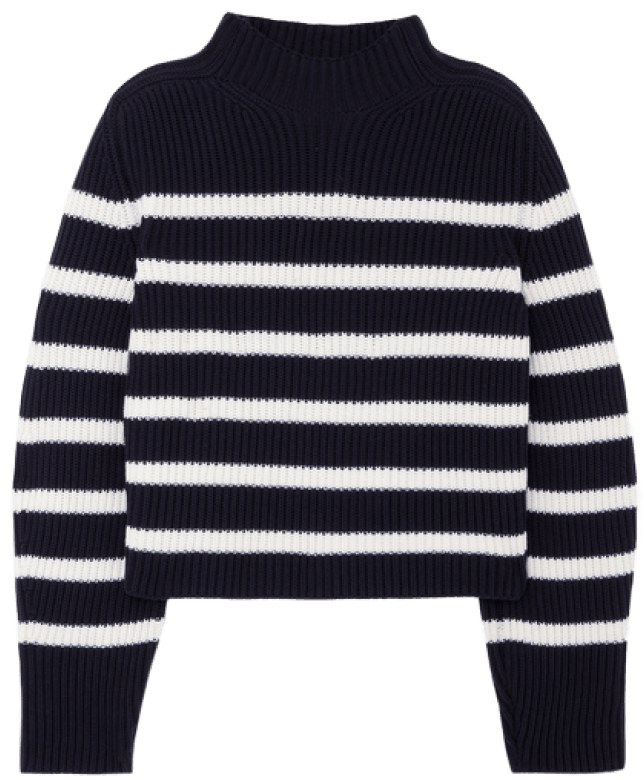 G. Mark Lucy a striped sweater with a striped funnel