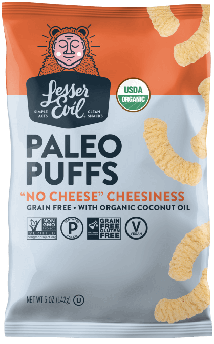 Lesser Evil No-Cheese Cheesiness Paleo Puffs