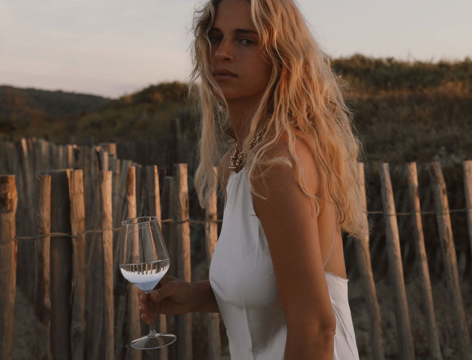 woman outdoors with a solid  of vino  astatine  sunset