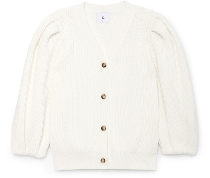 HILL RIBBED PUFF-SLEEVE CARDIGAN G. Label, $595