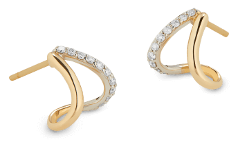 G. Label yellowish  golden  and pavé divided  earrings