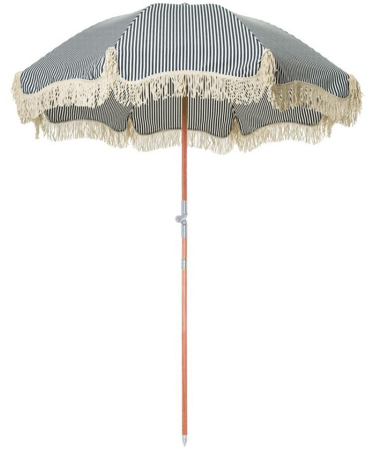 Business & Pleasure Co. Premium Beach Umbrella successful  Laurens Navy Stripe, goop, $299