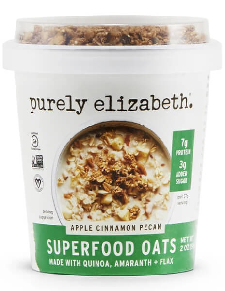Purely Elizabeth Apple Cinnamon  Pecan Superfood Oat Cup with Granola Topper