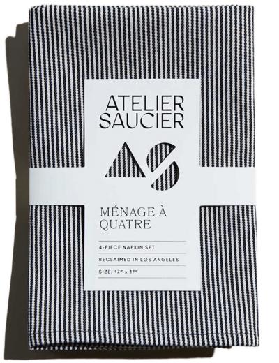 Atelier Saucier Hickory Stripe Napkins, Set of 4, goop, $66