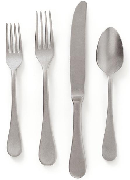 goop x Social Studies Flatware Set, 4 pcs in Brushed Silver, goop, $48