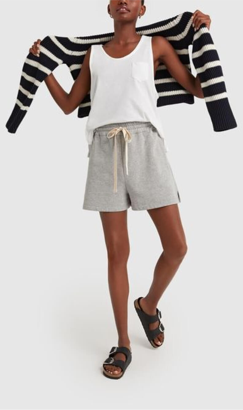 . LABEL ReYnolds Scoop-neck Tank and LUCY STRIPED FUNNEL-NECK SWEATER
