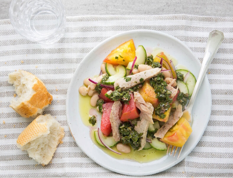 Tomato Salad with Tuna, White Beans, and Salsa Verde