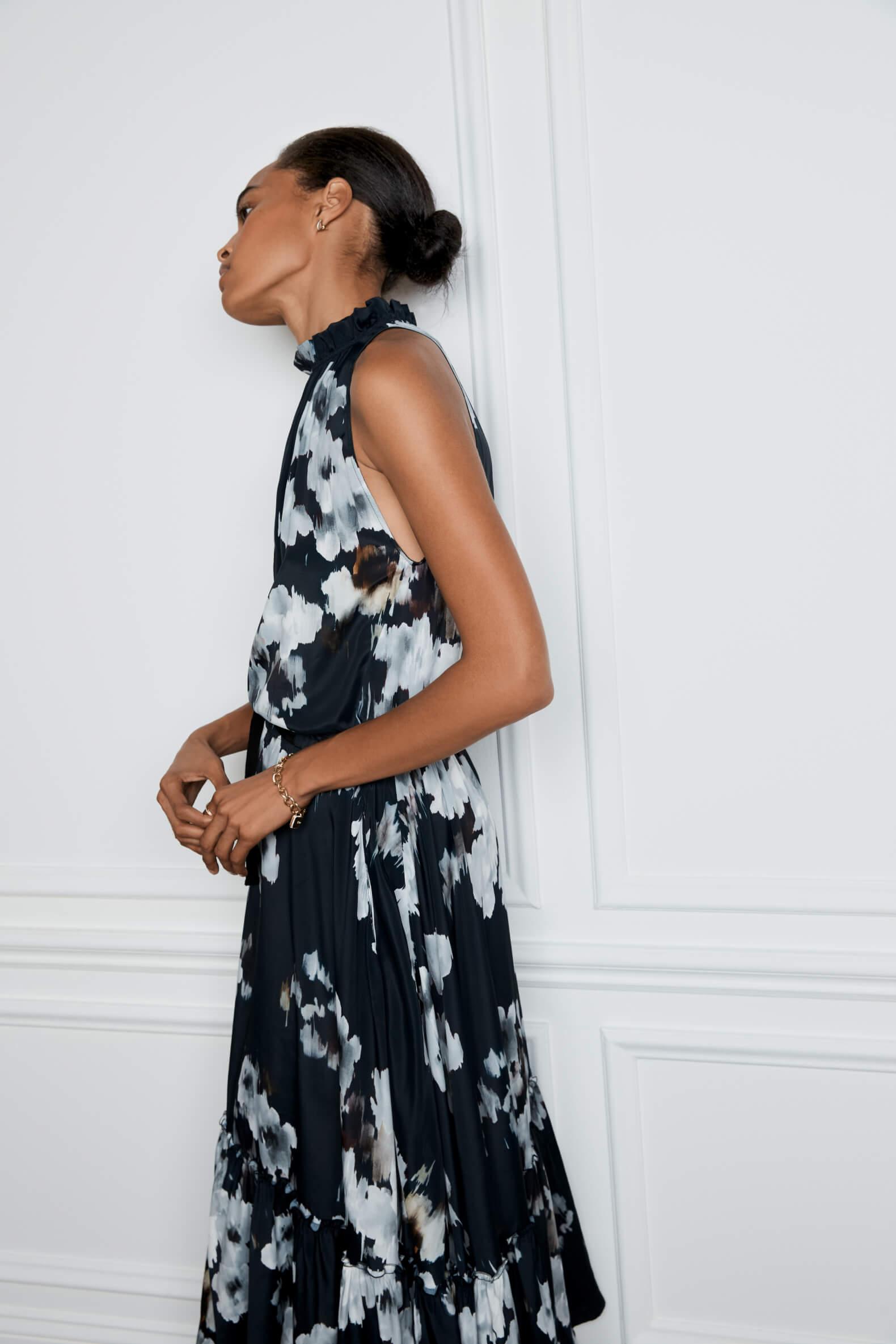 Sammy Midlength Pleat-Neck Dress