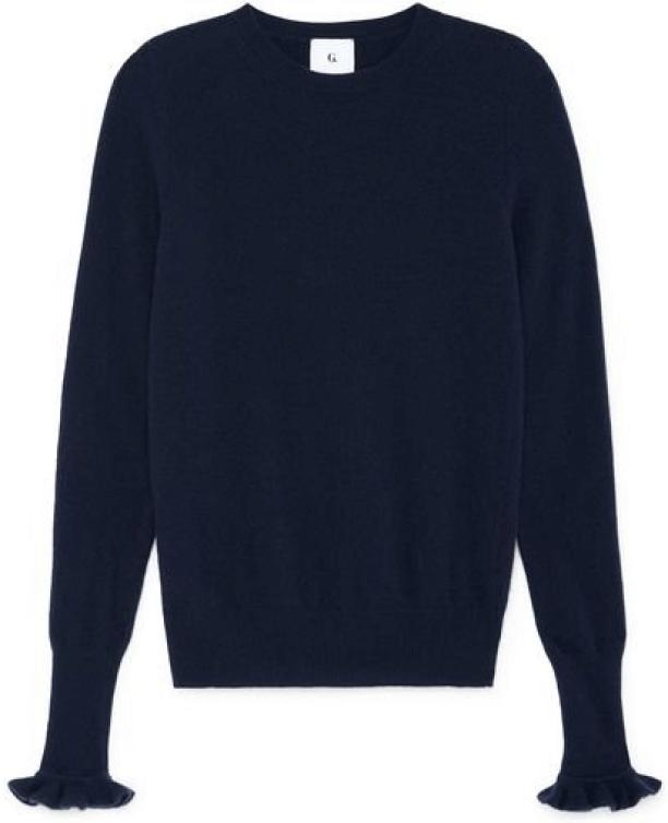G. Label Bunny Ruffle-Trim Sweater