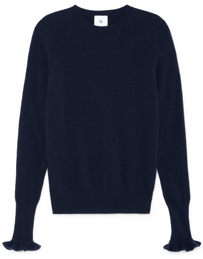 G. label Bunny Ruffle Trim sweater, goop, $395