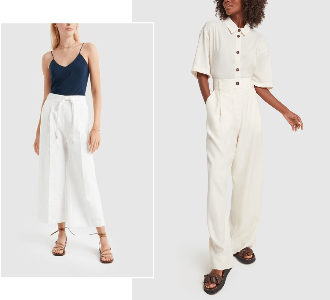 woman in blue cami with white trousers and woman in white blouse and trousers