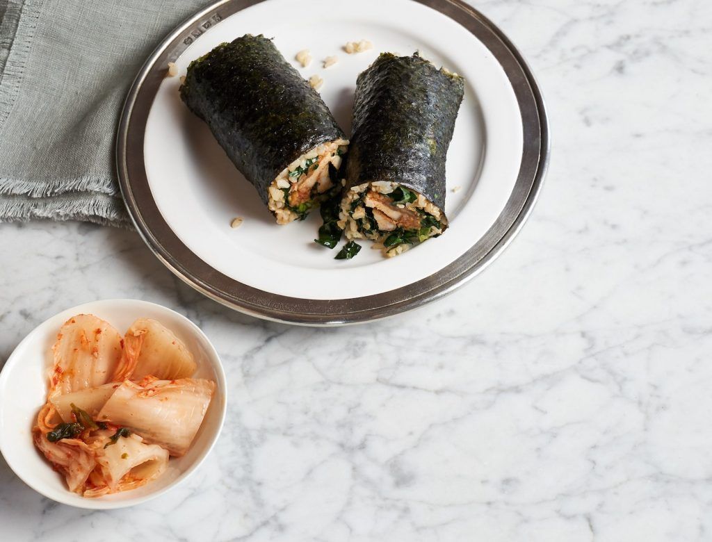 Kimchi and Grilled Chicken Nori Wrap