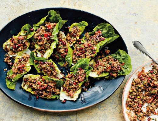 Spicy Bulgur in Lettuce Cups (Kisir)