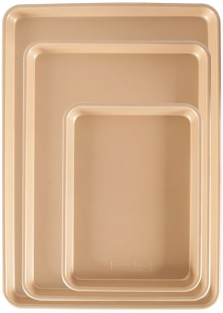 Nordic Ware 3-Piece Gold Nonstick Sheet Pan Set, goop, $75