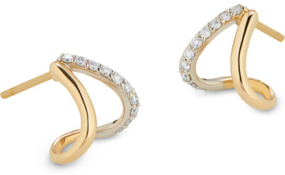 G. Label Emily Yellow Gold and pavé split earrings