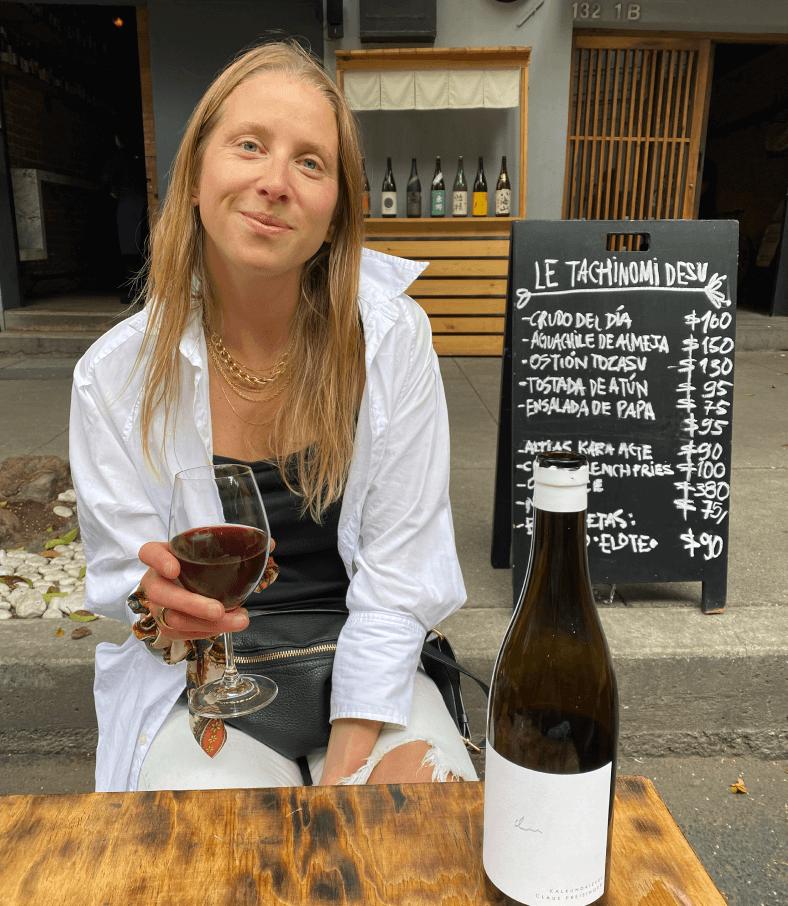 Kiki with wine