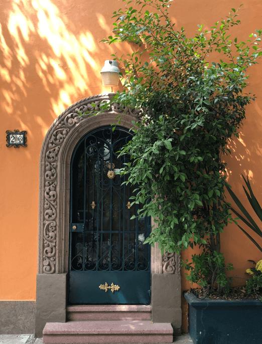 door with orange walls
