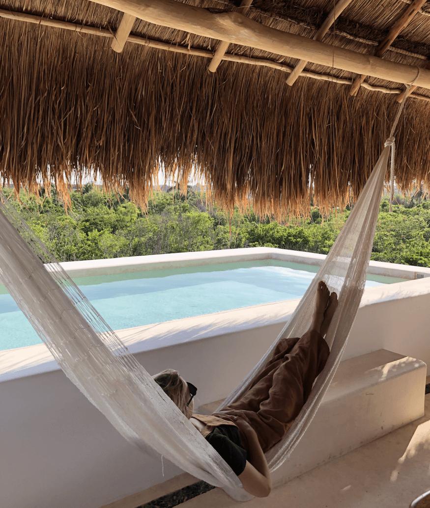 resting on a hammock