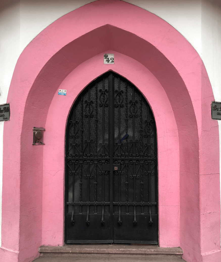 door with pink wall